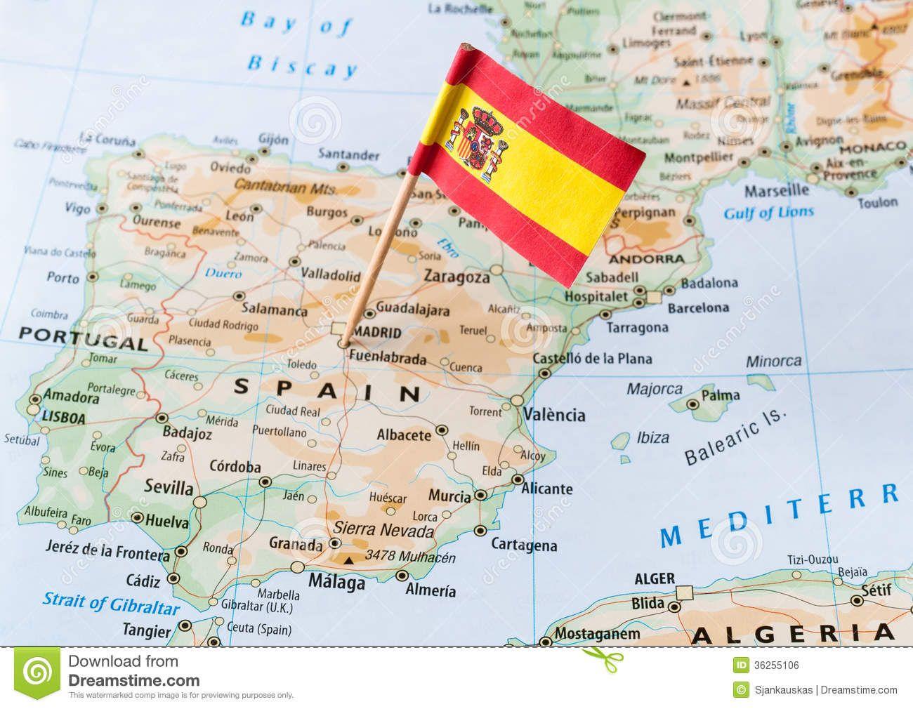 Jerez De La Frontera Karte.Spain Paper Flag Pin On A Map Travel Stock Photos In 2019 Spain