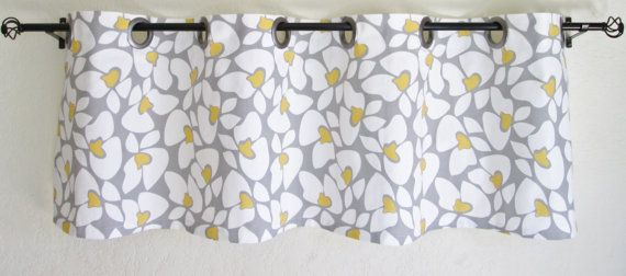 Valance Premier Prints Helen Gray White Yellow Twill Storm Valances  Curtain  Option To Add Grommets