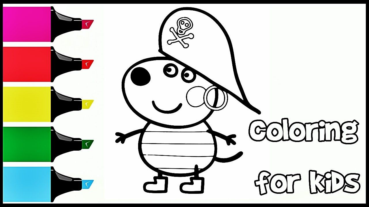 Peppa Pig Goat Gabriella pirate Coloring Book Pages Video For Kids ...