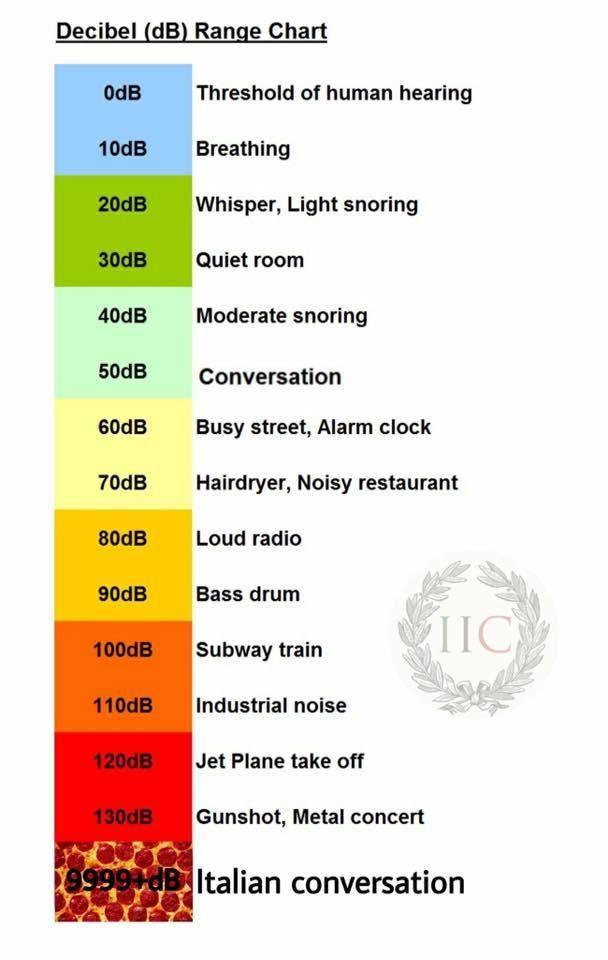 Decibel Level Charts | Know Your Meme Decibel Level Charts, also known as  Noise Level Charts, is a series of exploitable graphs showing the relative  decibel ...