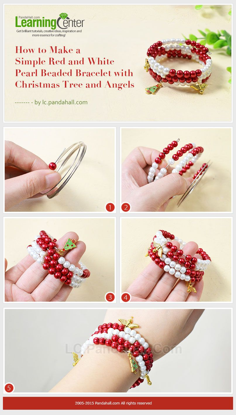 How to Make a Simple Red and White Pearl Beaded Bracelet with ...