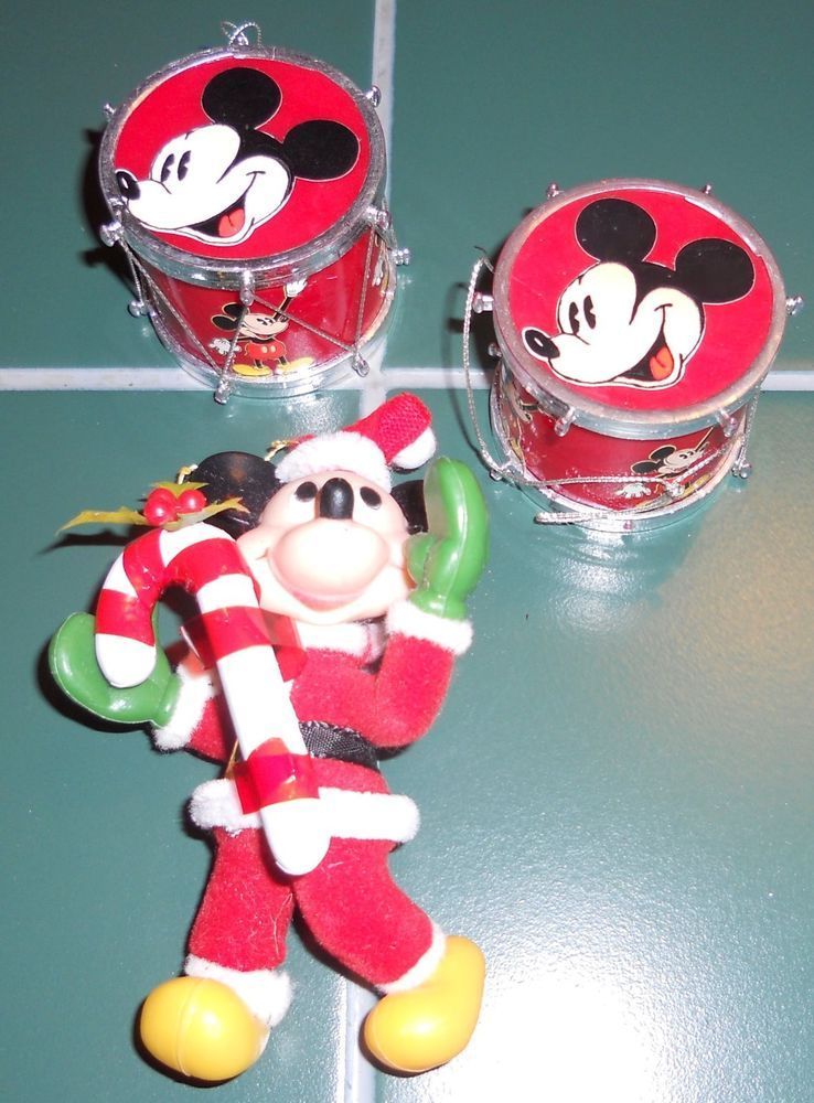 3 Vintage Mickey Mouse Christmas Ornaments 1 Mickey 2 Mickey Drums Disney Holiday Vintage Mickey Mickey Mouse Christmas
