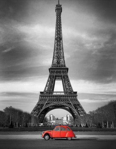 Retro Red And The Eiffel Tower Eiffel Tower Tour Eiffel Eiffel Tower Art