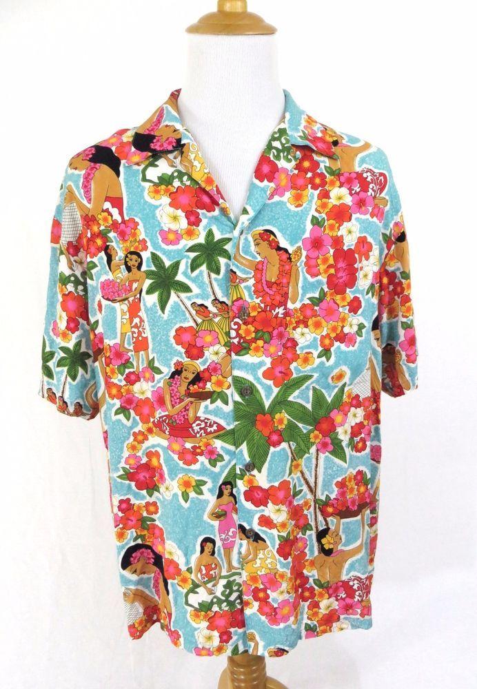 Iolani Shirt Large Hawaiian Vintage Hula Dancer Girl Floral Lei Palm Tree  Aloha #Iolani #