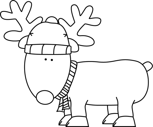 Clip Art Black And White Black And White Christmas Reindeer Clip