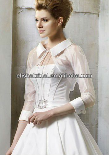 Overlaped Collar Open Front Three Quarter Sleeve Organza Bridal Bolero Jacket $29~$49