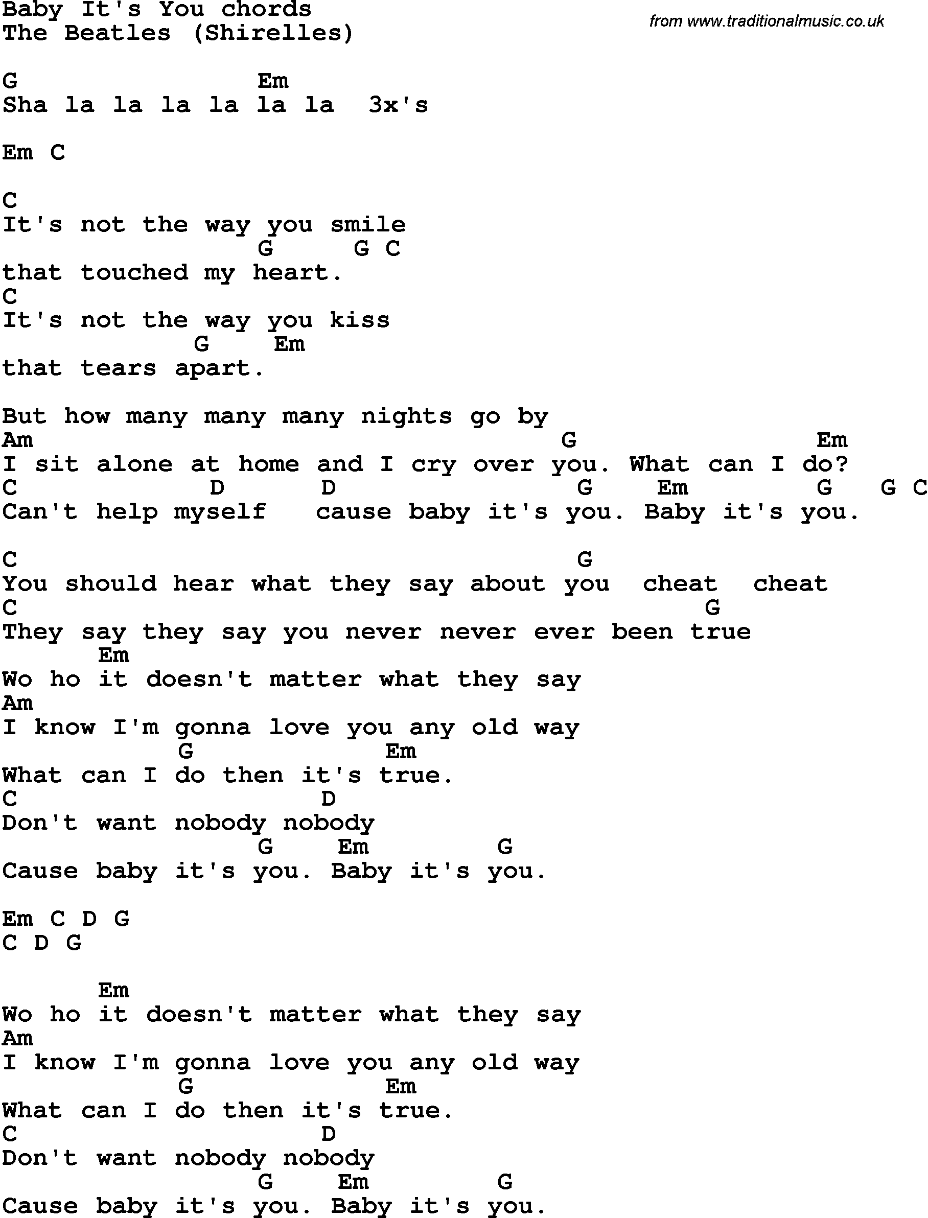 Song Lyrics With Guitar Chords For Baby Its You The Beatles