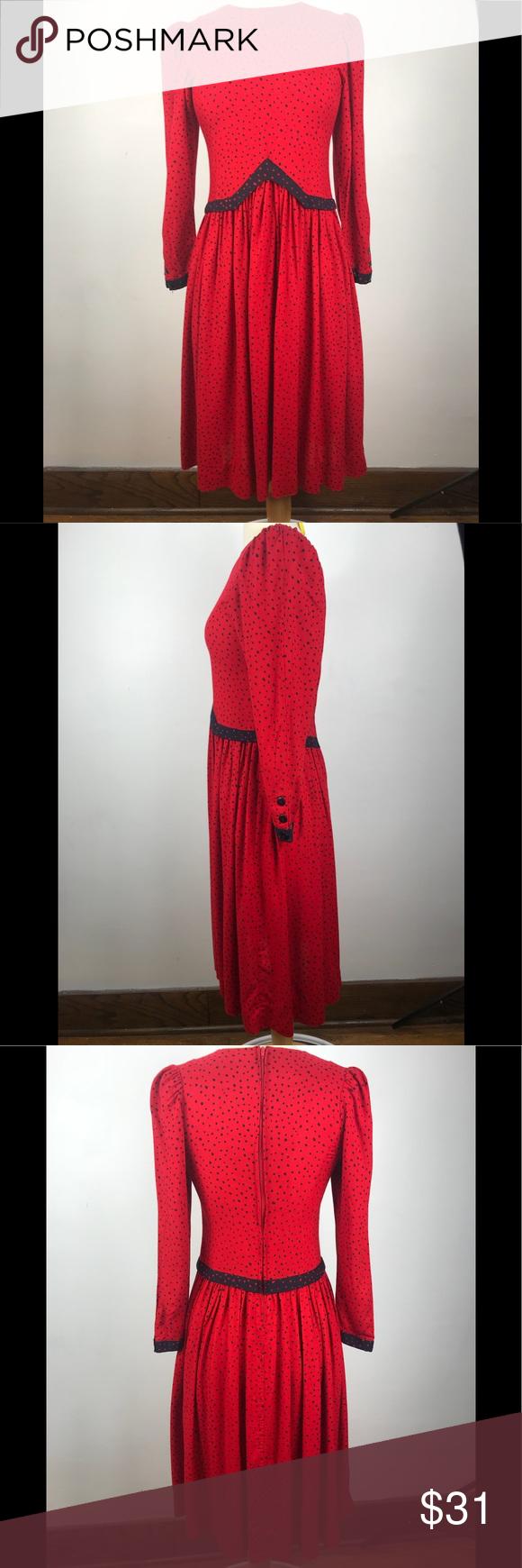 Vintage red and black polka dot dress