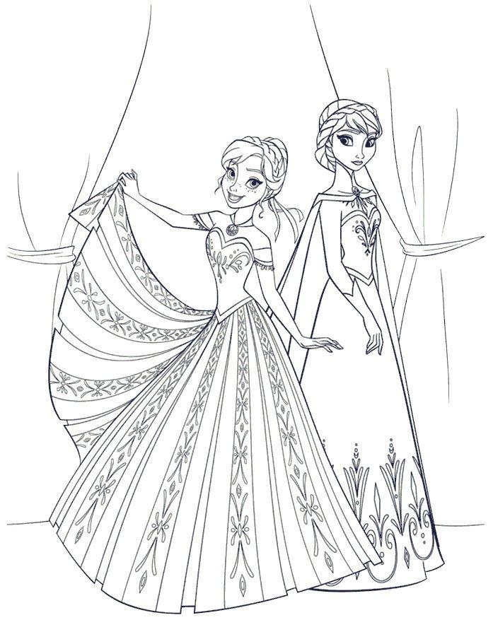 Image for Gambar Mewarnai Frozen Anna Elsa Cantik | Askartelua ...