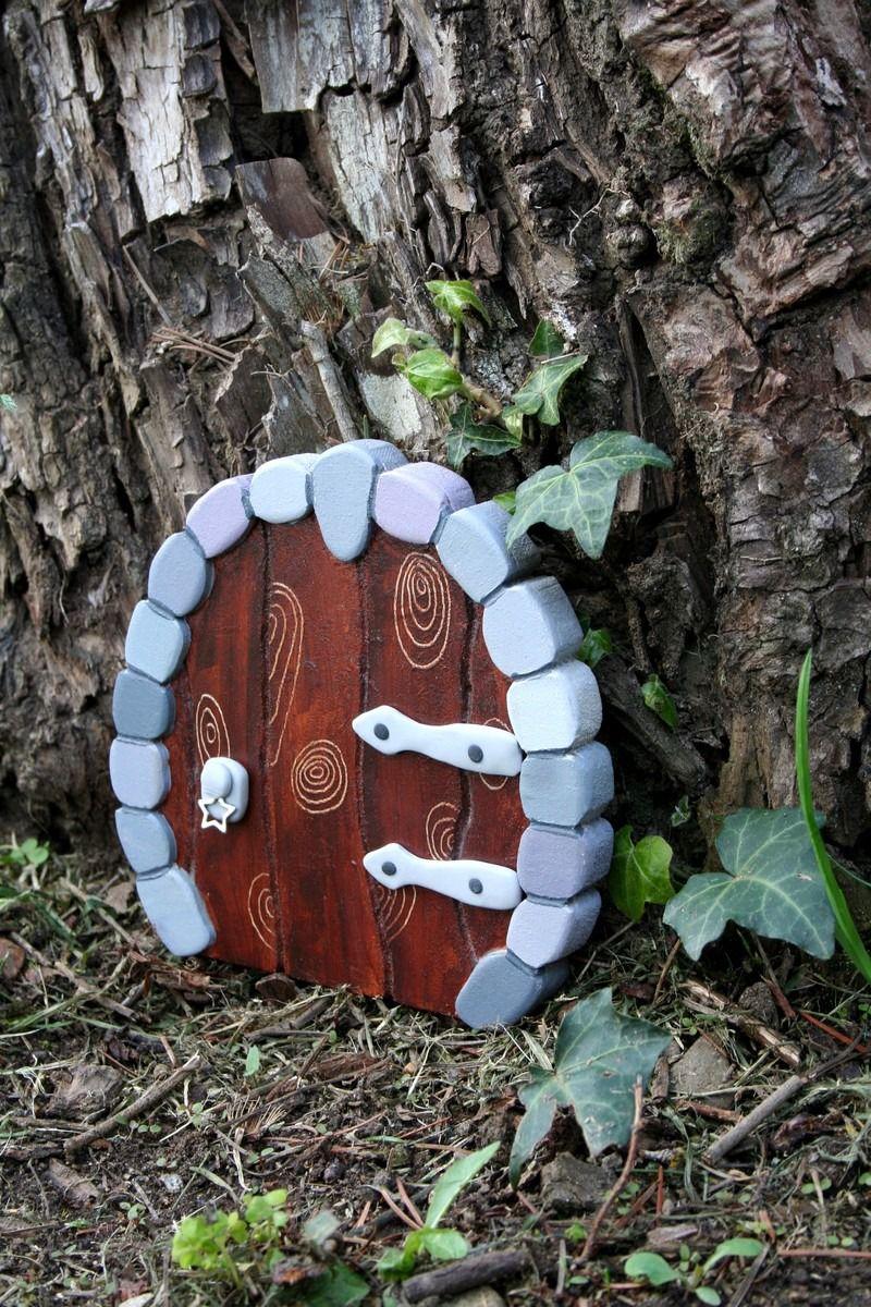 porte de fe en bois et pte polymre fairy door imitation pierres dcoration