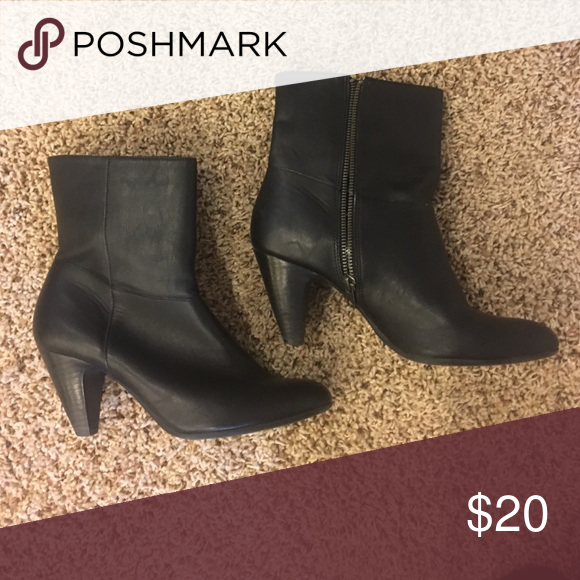 Black booties heeled Leather heeled black booties with zipper. Worn once Sam & Libby Shoes Heeled Boots