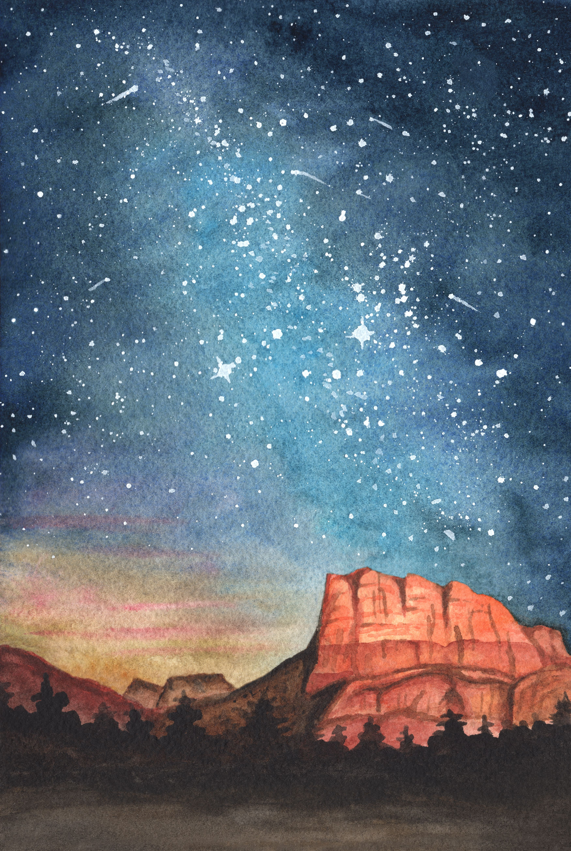 Desert Nights Watercolor Painting Desert Painting Nature Watercolor Night Art