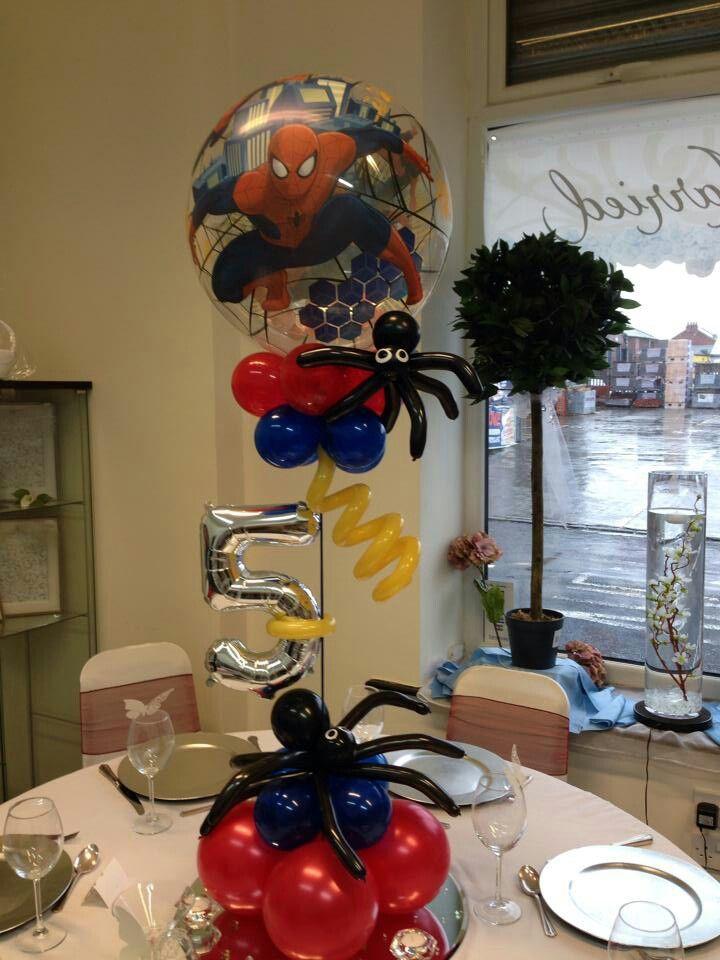 Centro de mesa spiderman fiestas infantiles pinterest for Decoracion de globos para hombres