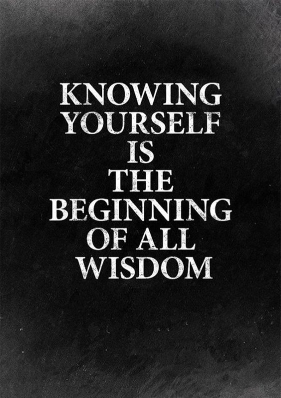 Knowing yourself is the beginning of all wisdom