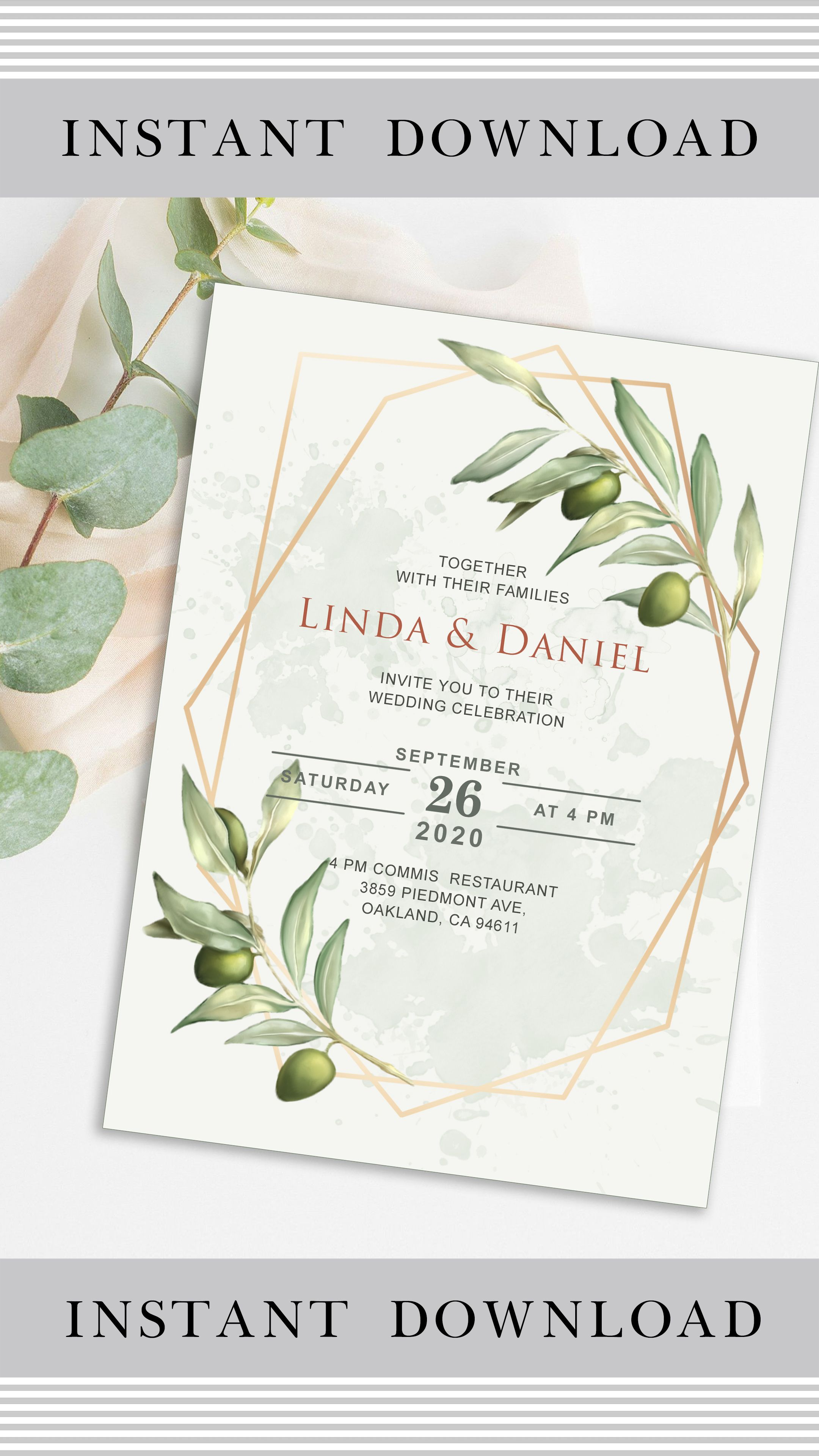 Floral Wedding Invitation Template Geometric Wedding Invitation Botanical Wedding Inv In 2021 Wedding Invitations Wedding Invitations Rustic Wedding Invitation Cards