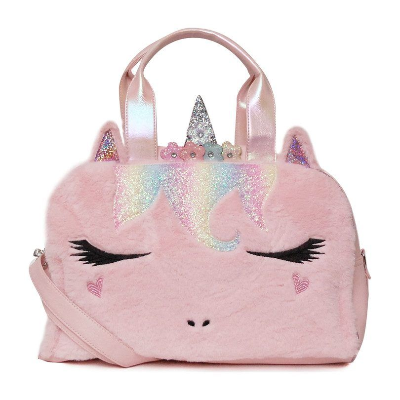 Flower Crown Miss Gwen Plush Unicorn Duffle Bag, Pink - Kids Girl Accessories Bags - Maisonette
