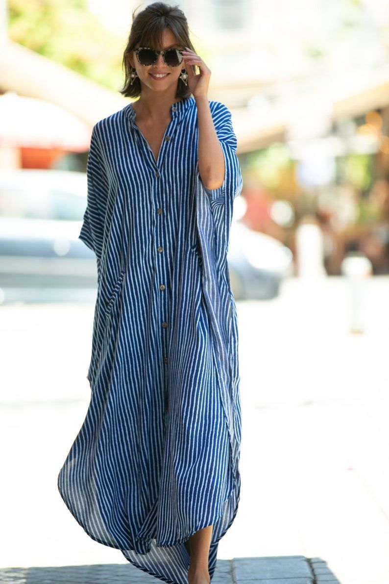 Blue White Striped Oversize Kaftan Dress Bohemian Hipster Buttoned Caftan With Pockets Summer Urban Vacation Hippie Plus Size Maxi Dress In 2020 Kaftan Dress Caftan Dress Plus Size Maxi Dresses [ 1191 x 794 Pixel ]
