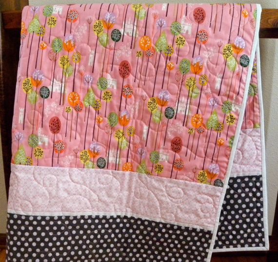 baby girl or toddler quilt modern handmade by BetsysBobbins, $98.00