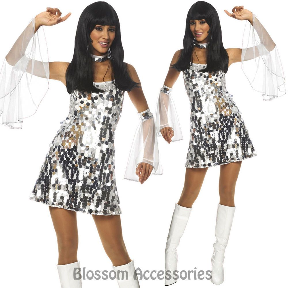 K5 60s 70s Retro Hippie Girl Dancing Groovy Party Silver
