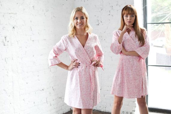 9ab1bdc12c Cotton Robes Pink Dressing Gown Cotton Kimono Floral