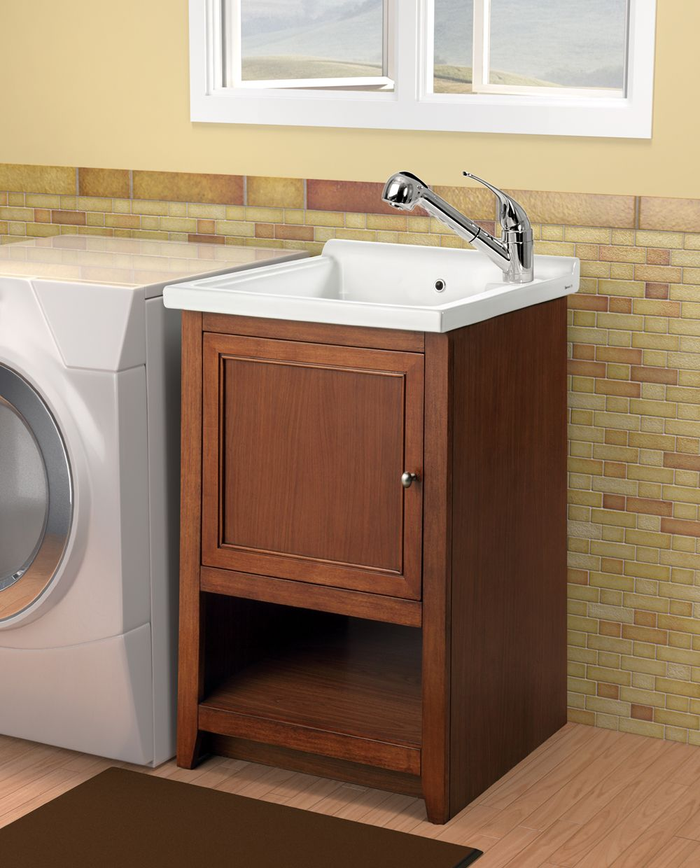 Brown Wooden Laundry Cabinet And Simple White Sink Has Small Door On Brick Wallpaper Design Charming