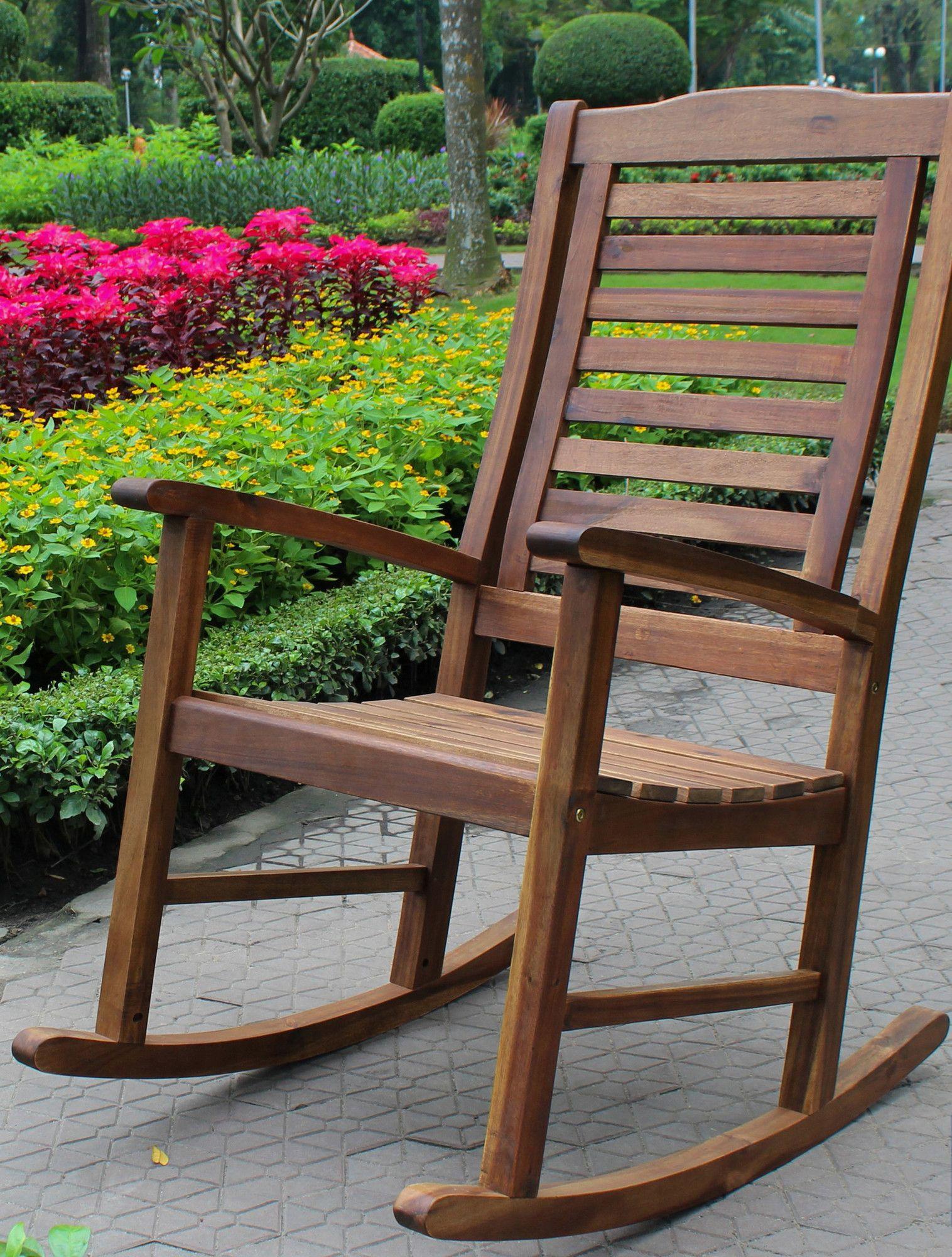 Jarrard solid acacia wood patio rocking chair outdoor
