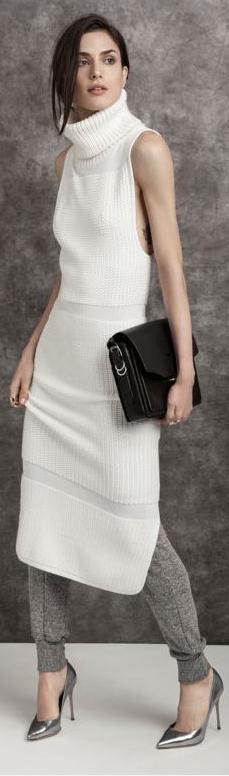 a0fdb8bd37ce white long maxi knit dress black purse women fall style