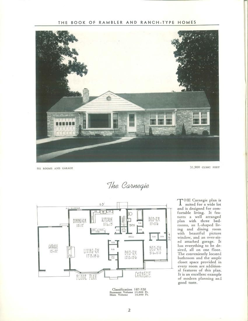 Book of rambler and ranch-type homes : designs ...   Houses   Pinterest