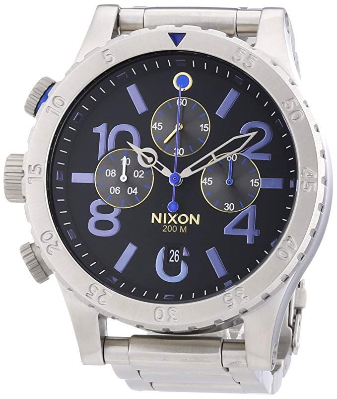 Nixon Steele Tops: Nixon 48-20 Chronograph Midnight GT Purple Stainless Steel