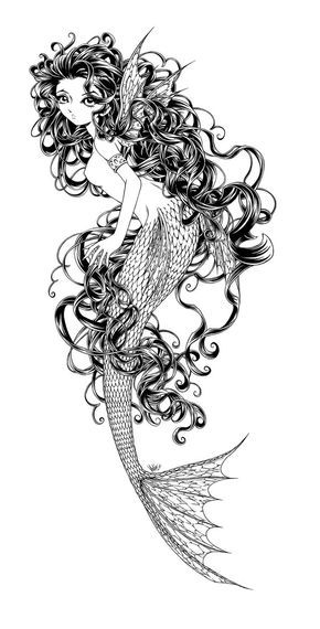 Beneath The Waves B W Mermaid Mermaid Coloring Pages Mermaid Coloring Coloring Pages