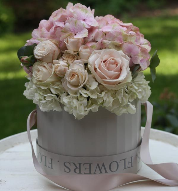 Flowers In Hat Box Roses Hydranges
