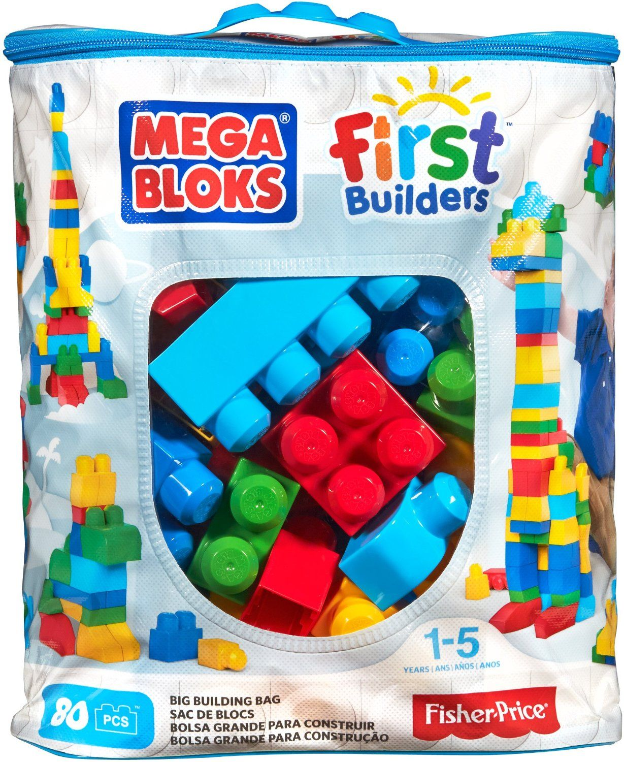 Amazonsmile Mega Bloks First Builders Big Building Bag 80 Piece Classic Toys Games Big Building Toys For Boys Baby Toys