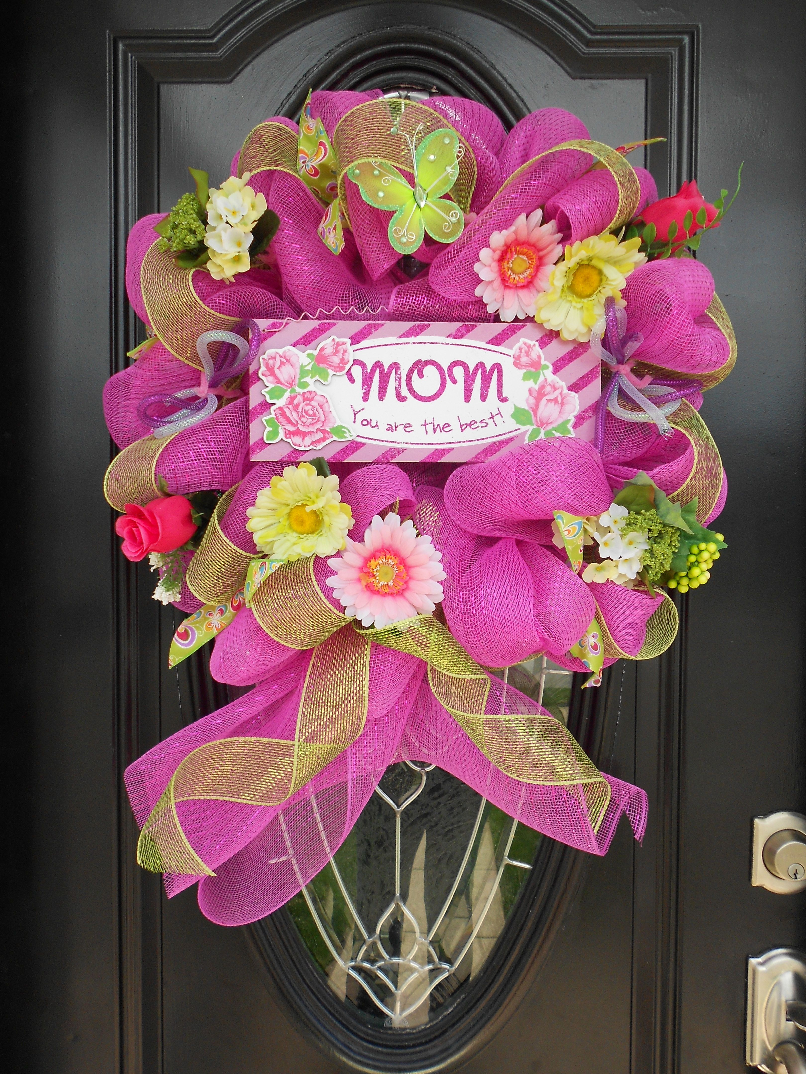 Mother 39 s day deco mesh wreath roezee 39 s wreaths for Craft wreaths for sale