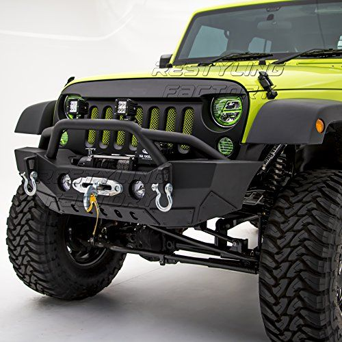 Rock Crawler Front Bumper+Bull Bar Hoop+Winch Plate for 07-17 Jeep JK Wrangler
