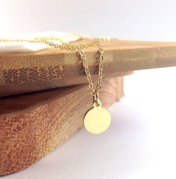 Tiny gold disc gold necklace 14k gold filled small circle round tiny gold disc gold necklace 14k gold filled small circle round coin gold circle aloadofball Image collections