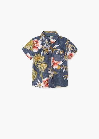 8b4cbd5ca Camisa estampado tropical | MANGO KIDS Costurar Camisas, Bebê De 4 Meses,  Roupa Tropical