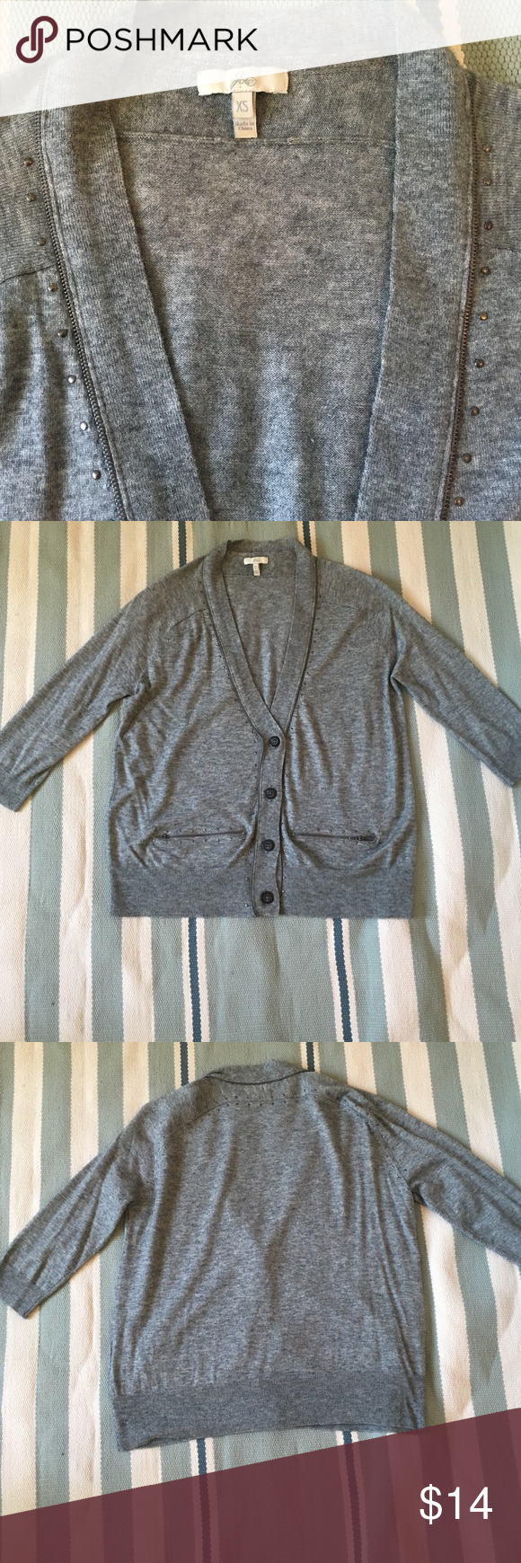 Joie grey 3/4 sleeve sweater w zip detail. XS Joie grey 3/4 sleeve sweater w zip detail. XS Gorgeous with silk camisole and skinny jeans. Great condition. No holes or snags. Joie Sweaters