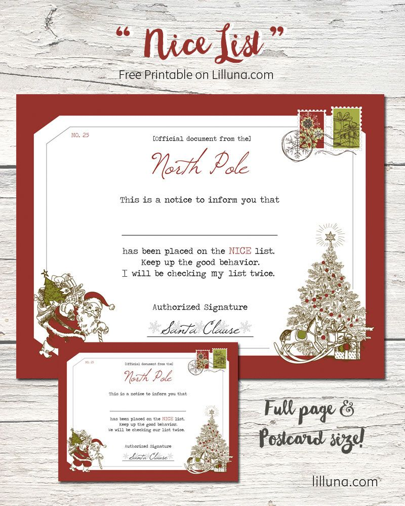 Official SantaS Nice List Certificate  Download Print And Give