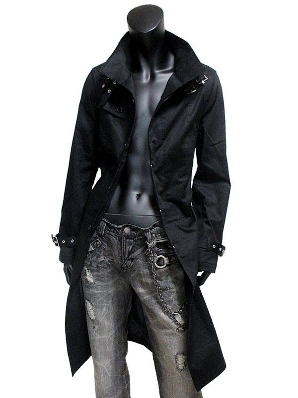 Single coat men long trench neck belt waist belt lining KR-O137007 ...