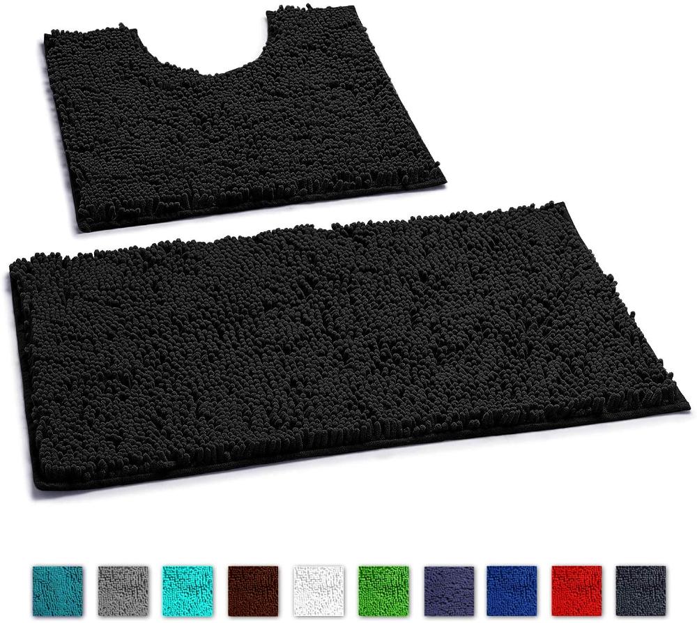 Amazon Com Luxurux Bathroom Rugs Luxury Chenille 2 Piece Bath Mat Set Soft Plush Anti Slip Bath Rug T In 2020 Washable Bath Mat Bathroom Rugs Bathroom Rugs And Mats