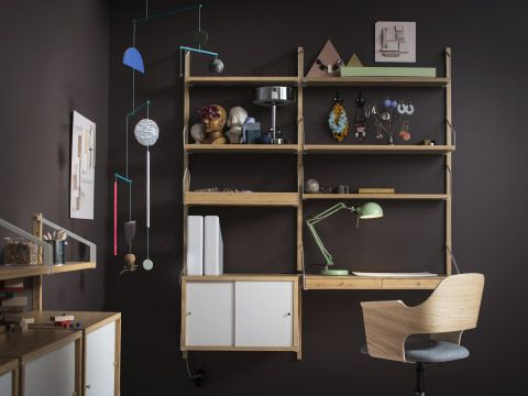 Delicieux A Home Office With A Wall Mounted Shelving Unit In Bamboo With Desk,  Combined With White Sliding Doors. Shown Together With A Swivel Chair In  Oak Veneer ...