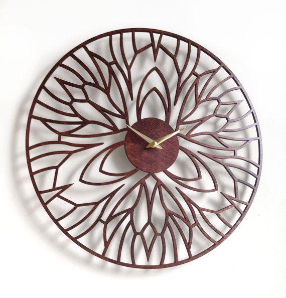 """18"""" reloj de pared de Iris, grande. Laser corte, moderno, único, Boho, Art…"""