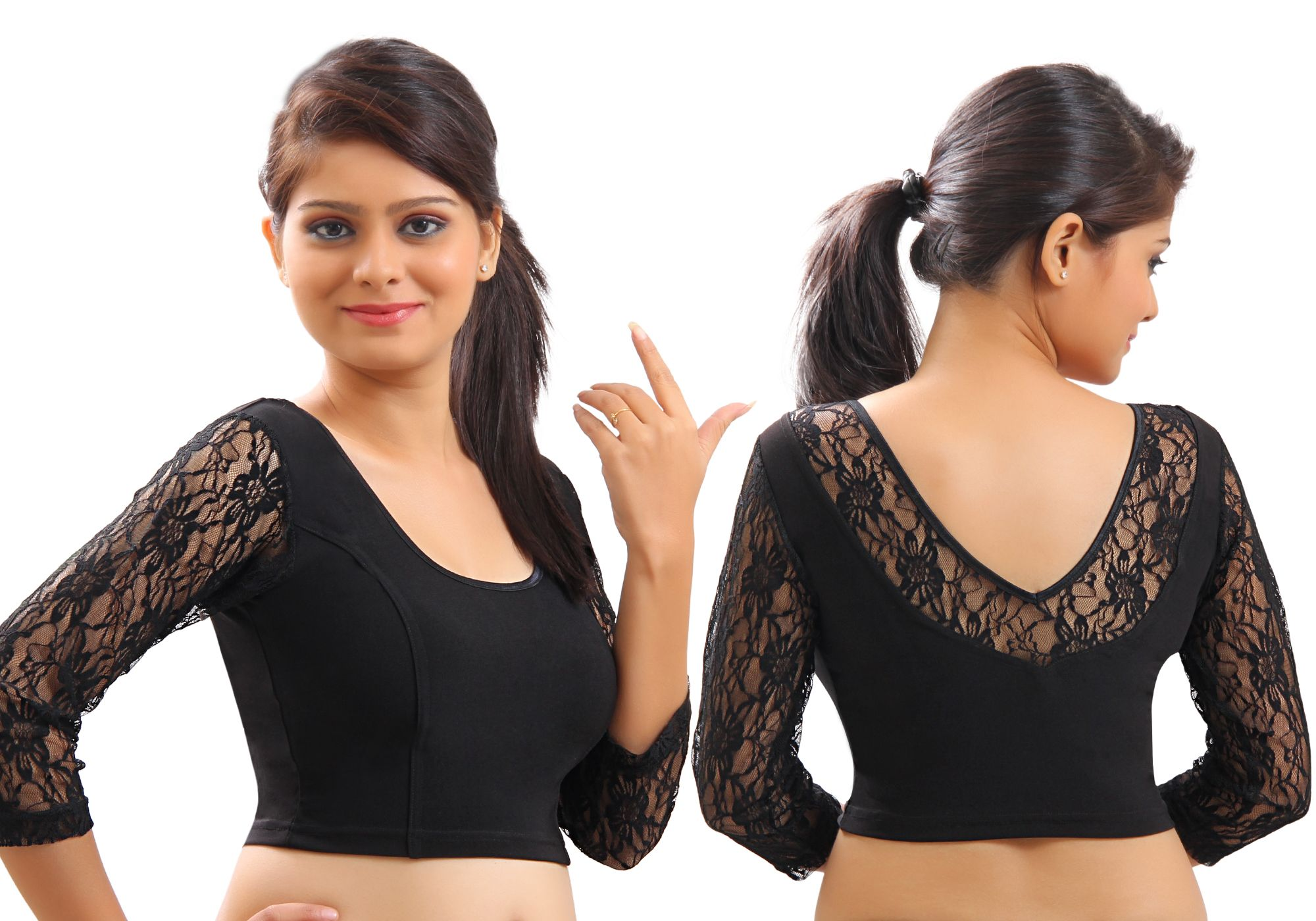 118f2b3c09fa3e Black Lace Crochet Stretchable Blouse & Crop Top From Muhenera A12l- Online  Shopping for Blouses by Muhenera
