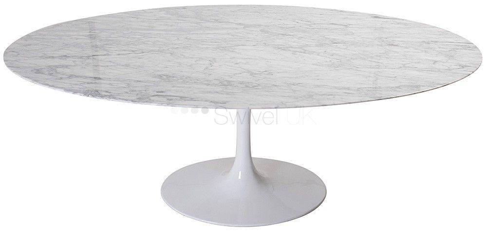 Eero Saarinen Style Marble Oval Dining Table | SWIVELUK