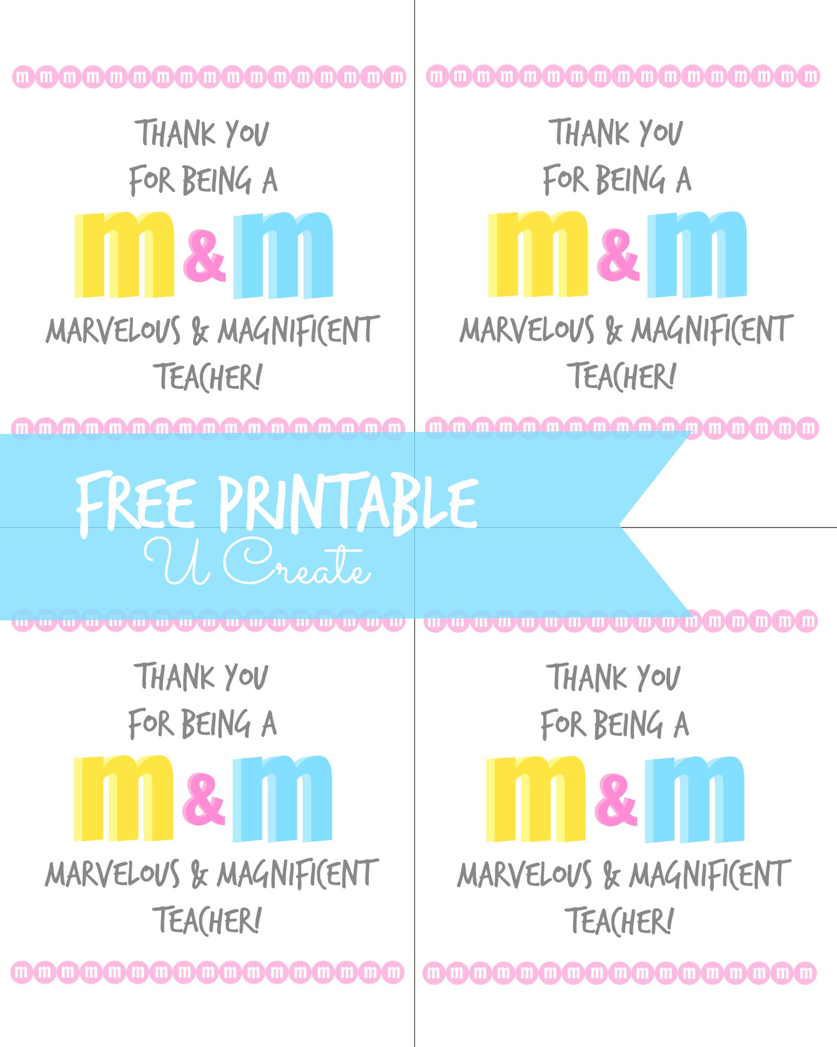 M Amp M Teacher Appreciation Printable