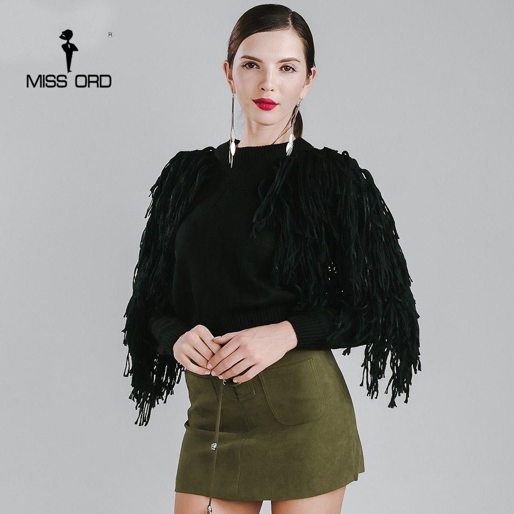 Missord 2017 섹시한 O 목 긴 소매 술 스웨터 FT4178