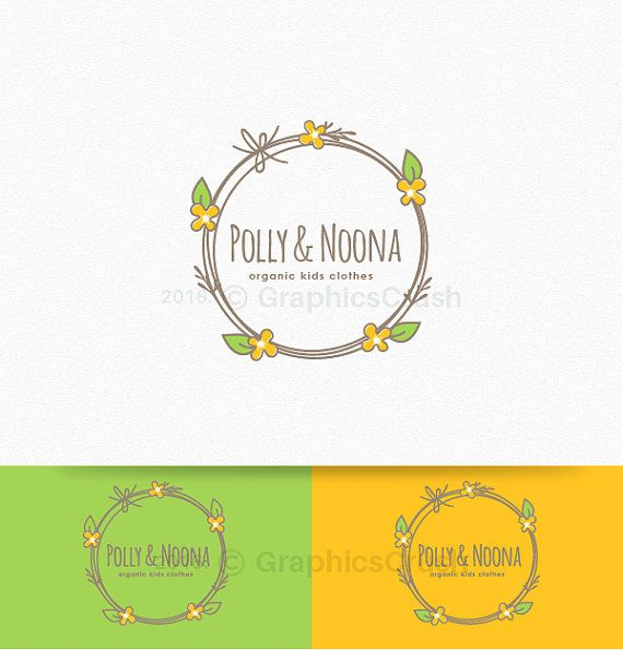 Ooak Baby Boutique Logo Floral Frame Logo Whimsical Logo Children