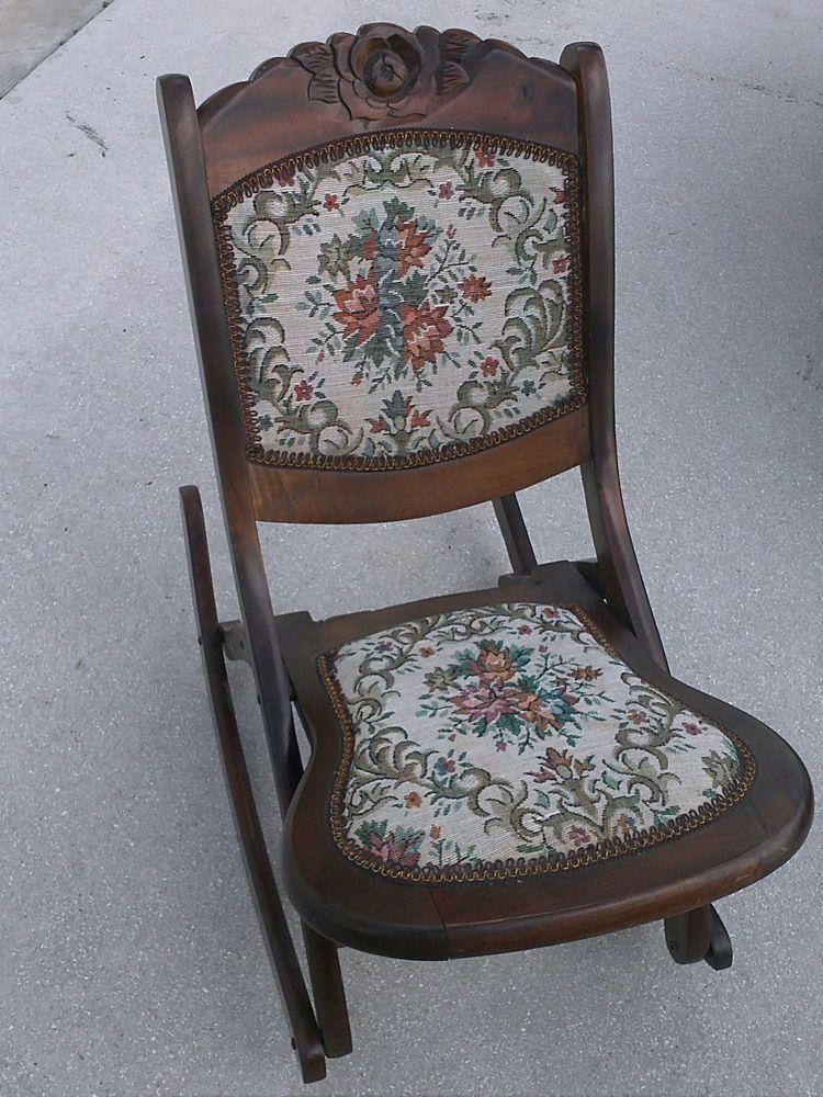 foldable rocking chair kitchen high chairs vintage folding wood sewing nursing rocker rare
