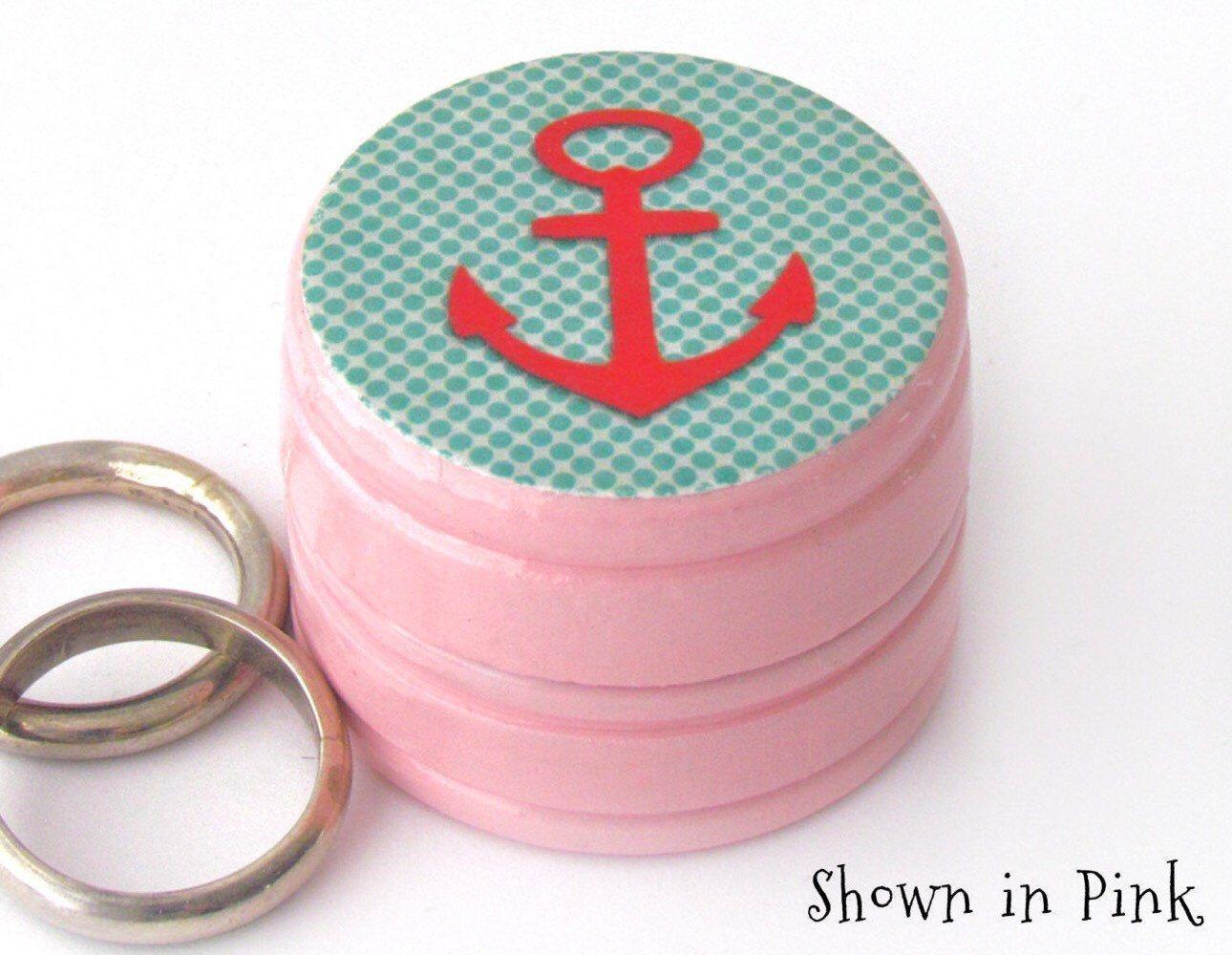 Red Anchor Wedding Ring Box - Nautical theme Wedding - Anchor Pink ...