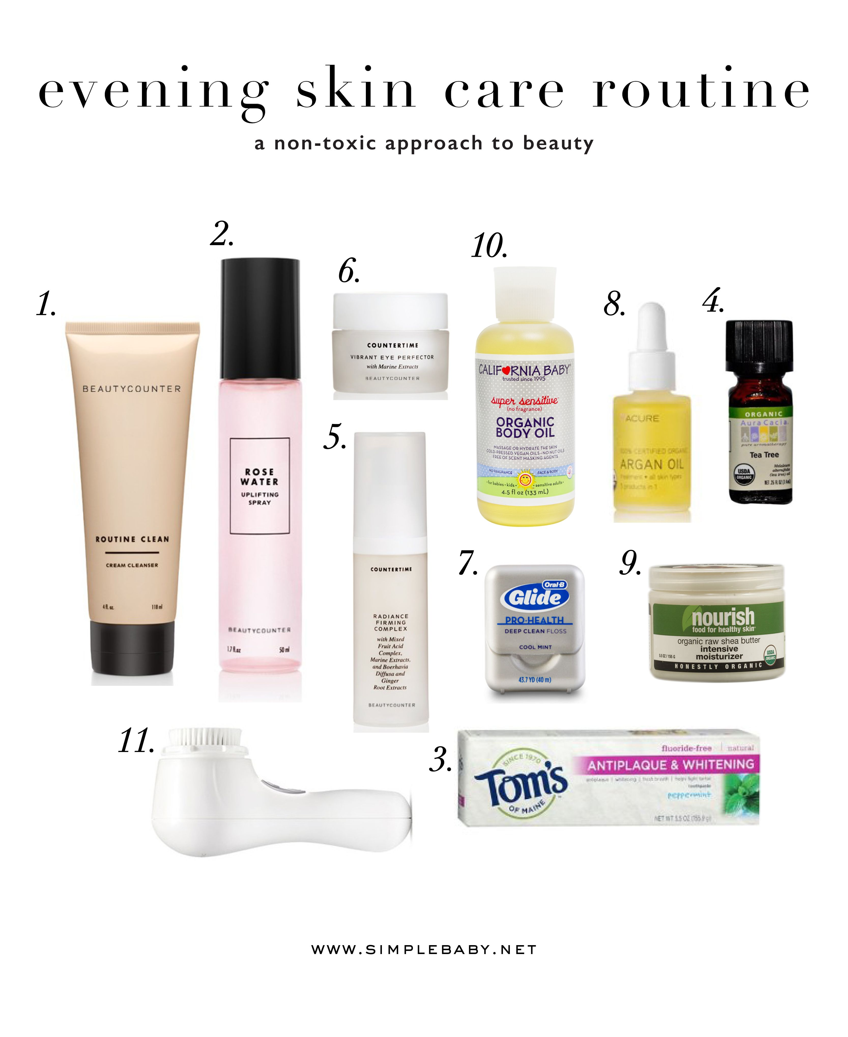 My List Of Non Toxic Skin Care Products Especially For The Evening Face Wash Toner Eye Cream Serum Arg Evening Skin Care Routine Skin Care Toxic Skincare